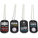 (12-Pack) Volleyball Motivational Dog Tag Necklaces - Wholesale Bulk Pack of 1 Dozen Necklaces - Party Favors Sports Gifts Uniform Supplies for Volleyball Players Fans Team Members