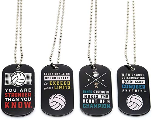 (12-Pack) Volleyball Motivational Dog Tag Necklaces - Wholesale Bulk Pack of 1 Dozen Necklaces - Party Favors Sports Gifts Uniform Supplies for Volleyball Players Fans Team Members -