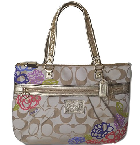 Coach Daisy Applique Multicolor Tote Bag Purse Khaki Sateen - Coach Multicolor Handbags