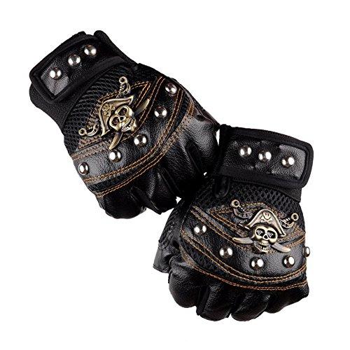 Leather Skeleton Motorcycle Motorbike Racing Gloves Half Fingers Pirate skull Gloves (Black/Red/Blue)