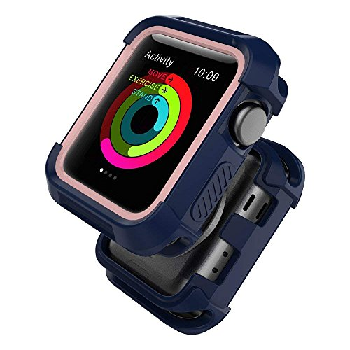 UMTELE Compatible with Apple Watch Case 38mm,Shock Proof Bumper Cover Scratch Resistant Protective Rugged Case Replacement for Apple Watch Series 3, Series 2, Series 1 38mm, Blue/Pink