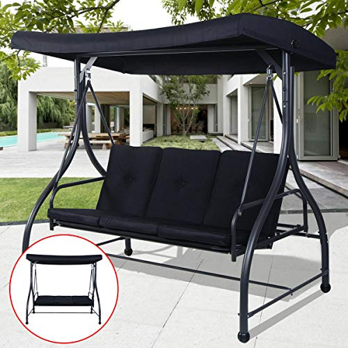 3 Seats Canopy Swing Chair Patio Deck Hammock Converting Outdoor Awning Yard Furniture Steel Black