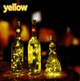 Gorgeous Light MOKAO 4PCS Solar Wine Bottle Cork Shaped String Light 8LED Night Fairy Light (Warm White)