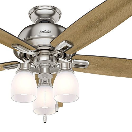 Hunter Fan 52 inch Ceiling Fan with Three-light Fitter and Clear Frosted Glass in Brushed Nickel (Renewed) (Brushed Nickel)