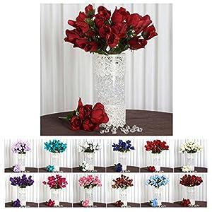 Efavormart 84/pk Velvet Rose Buds Wedding Centerpiece Party Event Flowers Decoration Supply 32