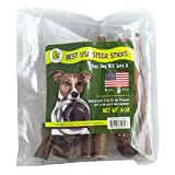 Pet Magasin [Sourced & Made in USA] Bully Sticks Dog Treats – Natural Steer Sticks for Dogs [6 Inches] For Sale