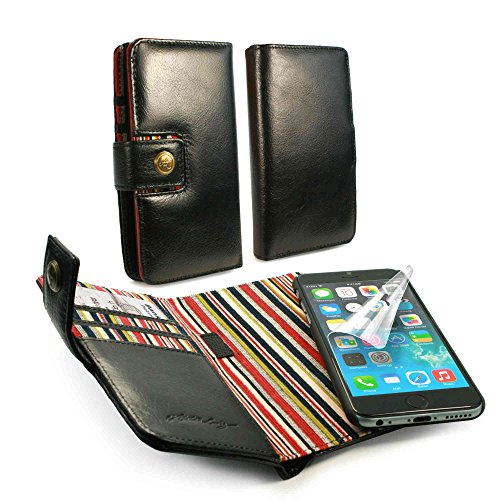 (Alston Craig Genuine Vintage Leather Magnetic E-Scape Tec Wallet Case Cover (with RFID Blocking) for iPhone 6s - Black)
