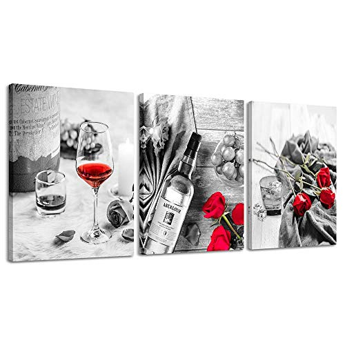 Canvas Wall Art Decor Wine Painting Artwork Poster Red Wine In Cups With Ice Rose Black White Canvas Wall Art Print Framed Pictures Red Rose Poster Giclee For Kitchen Bar -