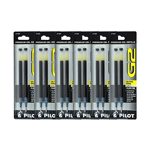 - Pilot G2, Dr. Grip Gel/Ltd, ExecuGel G6, Q7 Rollerball Gel Ink Pen Refills, 0.38mm, Ultra Fine Point, Black Ink, Pack of 12