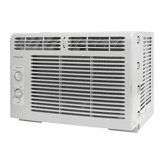 Frigidaire FFRA0511R1E 5, 000 BTU 115V Window-Mounted Mini-Compact Air Conditioner with Mechanical Controls 6 5,000 BTU mini-compact air conditioner for window-mounted installation uses standard 115V electrical outlet (Window mounting kit included) Quickly cools a room up to 150 sq. ft. with dehumidification up to 1.1 pints per hour Mechanical rotary controls, 2 cool speeds, 2 fan speeds, and 2-way air direction.Accommodates windows with a minimum height of 13 inches and width of 23 inches to 36 inches