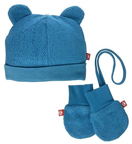 (Zutano Baby Cozie Fleece Hat & Mitten Set, Gray, 6M)