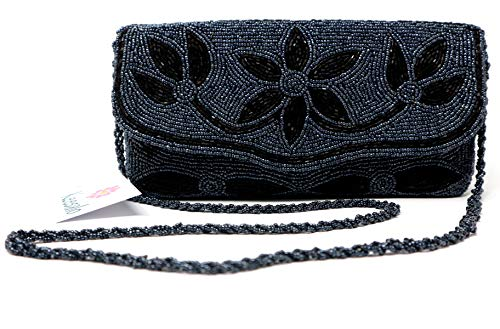 (Clutch Purse for Women-Handmade with Black Beads-Fashion Evening Bag for Party with Long Attached Beads Chain-Glitter Wedding Wallet with Zipper Pouch Inside (Berry Colour))