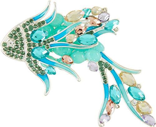 Silver Brooch Fish (Napier Rhinestone Tropical Fish Brooch One Size Silver tone/blue multi)