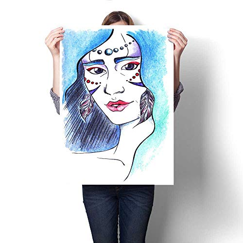 Anshesix Canvas Wall Art Wood Girl with Feather Earrings and Blue Hair Art Stickers 16