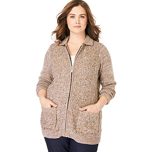 Woman Within Women's Plus Size Marled Zip-Front Cable Knit Cardigan - Soft Brown White, L