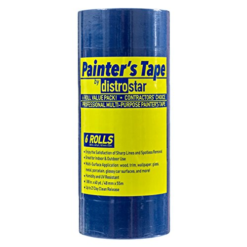Painter's Tape Blue 2 inch (1.88 in x 60 yd) 6 Roll Contractor Pack UV Protection 21 Day Easy Peel Perfect Lines Humidity Resistant Paint Like A PRO Professional Painter Premium Quality Masking Value by Distro Star (Image #1)