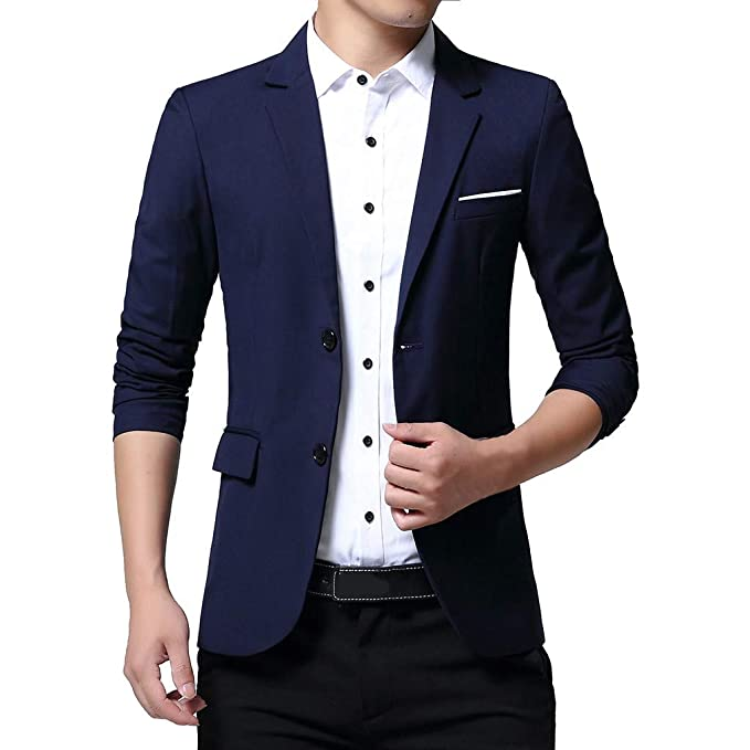 Tefamore Trajes de Hombre Dos Hebillas Slim Fit Suit Jacket ...