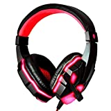Pevor Gaming E-sport Headset with Mic for PC PS4 Xbox One, Bass Over-Ear Game Headphones with Mic LED Lights and Volume Control for Laptop Mac iPad Computer (black red)
