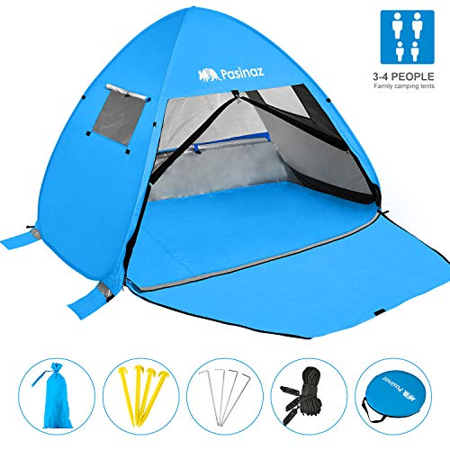 Pasinaz Pop Up Tent 3-4 People Family Beach Tent Camping Shelter Anti UV Sun Shade Outdoor Cabana Blue