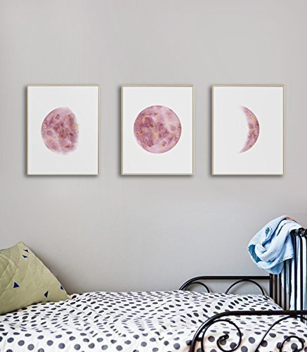 Amazon.com: Bedroom Wall Art For Teen Girls, Moon Phases Wall Art ...
