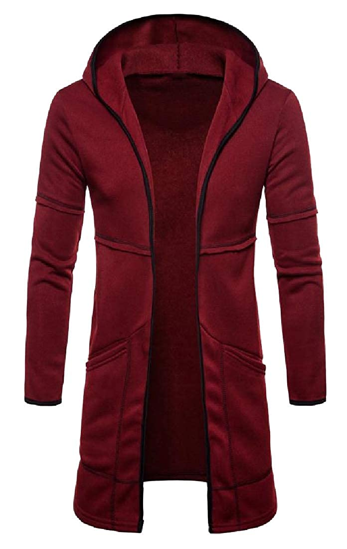RDHOPE-Men Slim Casual Duster Coat Mid Long Plus Velvet Sweatshirts