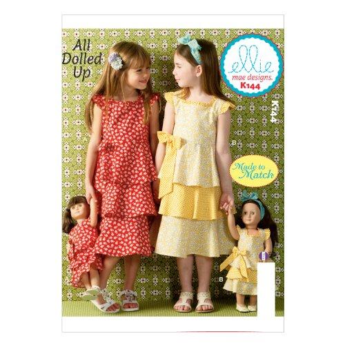 KWIK-SEW PATTERNS K0144OSZ Girls'/Doll's Dresses Sewing Template