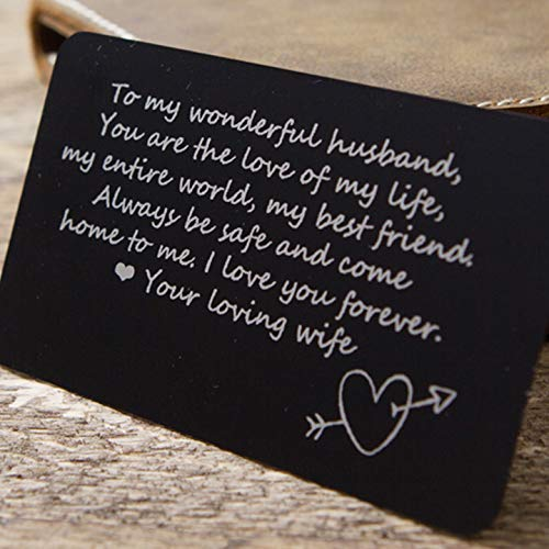 Wallet Card Insert (Aluminum Metal Card Insert with etched quote - Gift for husband - Deployment -