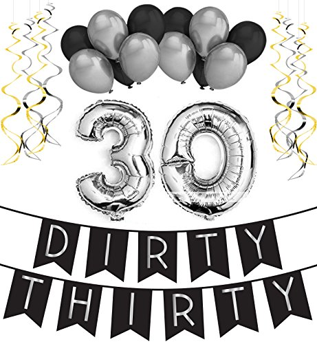 Dirty Thirty - 30th Birthday Party Pack – Black & Silver Happy Birthday Bunting, Poms, and Swirls Pack- Birthday Decorations – 30th Birthday Party (Spongebob Activity Kit)