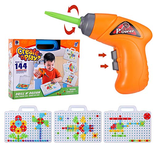 - SANSIRP Kids Creative Electric Drill & Play Screw Puzzle Learning Toys Puzzle DIY Jigsaw Toy Set for 3-10 Ages Boys and Girls (144 Pieces)