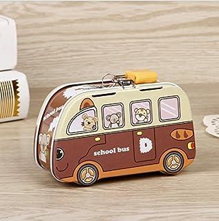 Süß und lustig Mini Schule Auto Sparschwein Innovative Dose Kanister (Brown)