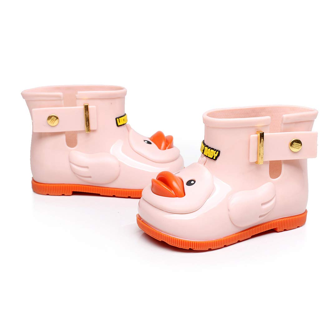 NOMSOCR Toddler Kids Warm Rain Boots Solid Color with Buckle Lightweight and Waterproof