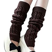 Vogholic Women's Thick Knitting Wool Leg Warmers Twisted Legging Socks