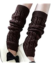 Vogholic Women's Thick Knitting Wool Leg Warmers Twisted Legging Socks, Coffee