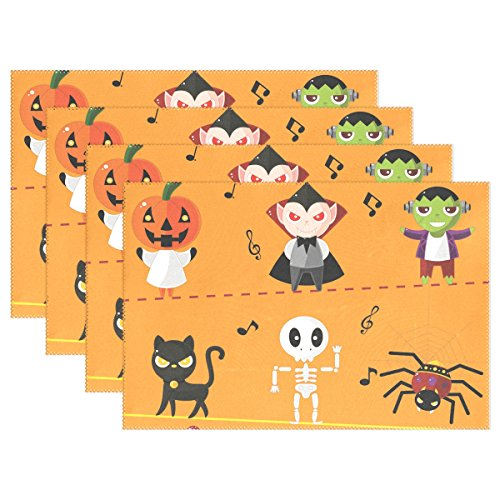 6 PCS Halloween Skull Washable Placemats Table Mats