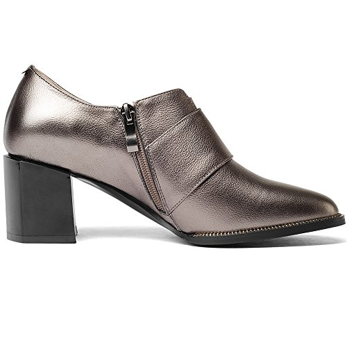 Nine Seven Genuine Leather Womens Pointed Toe Chunky Heel Zip Handmade Sexy Buckle Pumps Shoes Gun Color ZYPiXrj