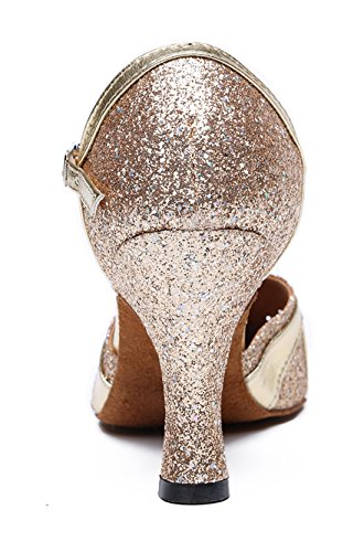 TDA Womens Single Strap Closed Toe Glitter Synthetic Tango Ballroom Latin Dance Wedding Shoes 7.5cm Champagne CGJziB
