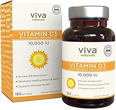 Viva Naturals Vitamin D3 (10,000 IU) - High Potency Vitamin D with Organic Coconut Oil, 180 Softgels