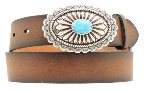[Ariat Women's Faux Turquoise Oval Buckle Belt Brown Small] (Brown Leather Concho Belt)