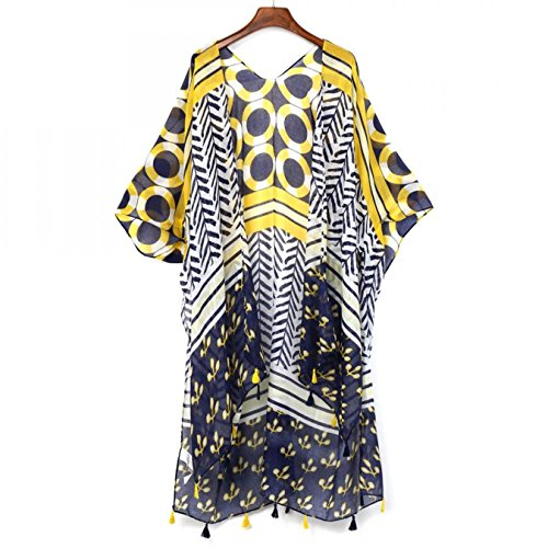 GoTiddy Summer Long Kimono Cardigan Short Sleeve Women Beach Shirt Blusas at Amazon Womens Clothing store:
