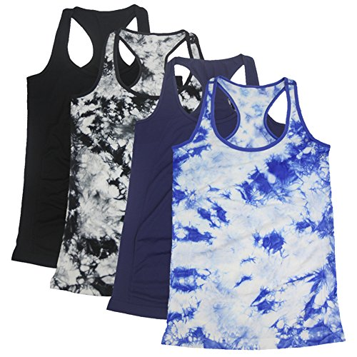 Candy Shop Tee Top - Semath Womens Lady Sleeveless Round-Neck Candy Vest Loose Tank Tops T-shirt,4 Pack/Blue White/Dark Blue/Black/Black White,Large, Large, 4 Pack/Blue White/Dark Blue/Black/Black White