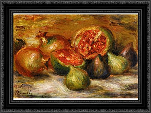 Still Life with Figs 24x20 Black Ornate Wood Framed Canvas Art by Renoir, Pierre Auguste