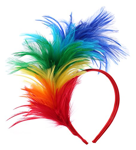Felizhouse 1920s Fascinator with Feathers Headband for Women Kentucky Derby Wedding Tea Party Headwear (AA Rainbow)