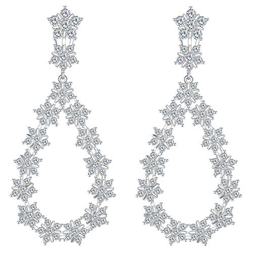 LILIE&WHITE Flower Halo Cubic Zircon Dangle Earrings for Brides, Wedding or Prom - Vintage Pear-Shape CZ Statement Chandeliers (Diamond Shape Dangling)