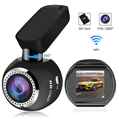 Car Dash Cam WiFi FHD 1080P Car Dash Camera Mini 360 Degree Rotate Angle Dashboard Camera DVR Recorder with G-Sensor, Night Vision, Motion Detection, WDR and 16GB SD Card Included ()