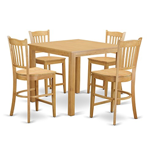 East West Furniture CFGR5-OAK-W 5 Piece Pub Table and 4 Kitchen Bar Stool Set