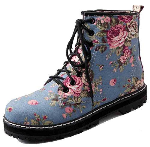 Easemax Kvinners Trendy Floral Trykt Rund Tå Lav Hæl Lace Up Boots Lys Blå