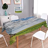 Anmaseven Rustic Oblong Customized Tablecloth Canadian Timber House in Terrain Grassland Farmland with Clouds in Air Landscape Stain Resistant Wrinkle Tablecloth Green Blue Size: W70 x L120