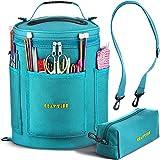 Bolsa de almacenamiento de hilos, organizador duradero de tejido y crochet, con funda para agujas, Azul tiffany, 1