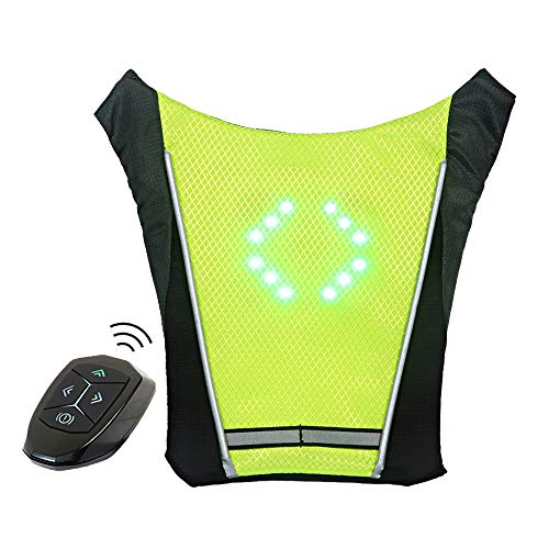ECEEN LED Turn Signal Vest Bike Pack Guiding Light Reflective Luminous Safety Warning Direction Backpack with Remote Controller for Night Cycling Running Walking Hiking Bag (Signal Vest - Green)]()
