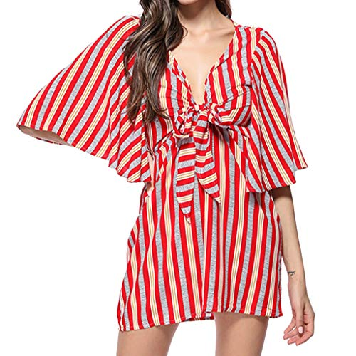 Answerl Women's Deep V Neck Dress Summer Boho Stripe/Polka Dot Mini Dress Loose Big Wing Short Sleeves Dresses with Bow Red]()
